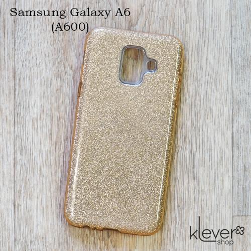 TPU чехол накладка Elysian rain для Samasung Galaxy A6 2018 (A600) (золотой с блестками)