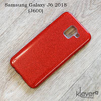 TPU чехол накладка Elysian rain для Samsung Galaxy J6 2018 (J600) (красный с блестками)