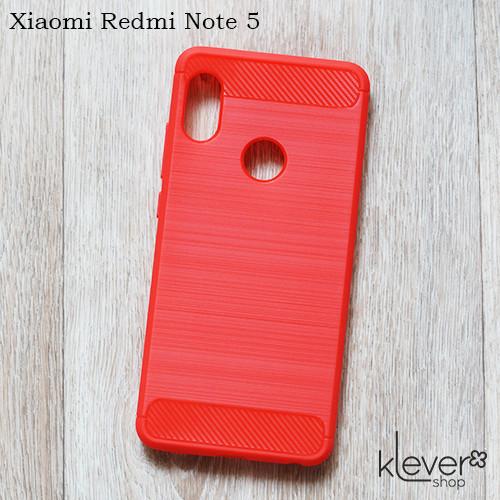 "TPU чехол накладка для Xiaomi Redmi Note 5 (red ""Carbon"")"