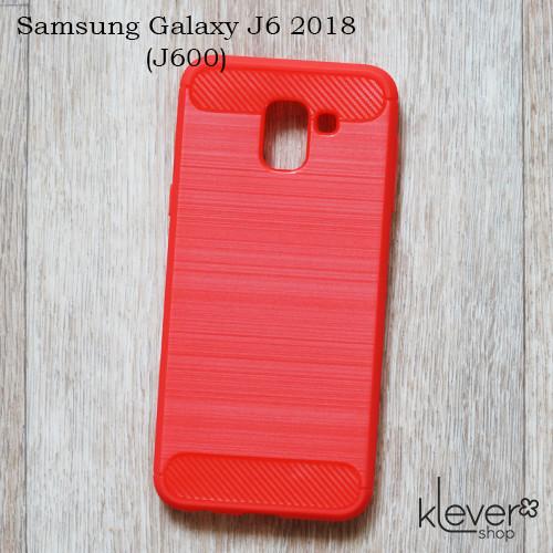 "TPU чехол накладка для Samsung Galaxy J6 2018 (J600) (red ""Carbon"")"