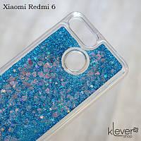 Чехол аквариум с блестками для Xiaomi Redmi 6 (синие блестки)