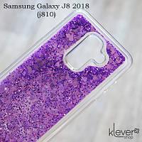 TPU чехол накладка Aquarium для Samsung Galaxy J8 2018 (J810) (сердечки и фиолетовые блестки)