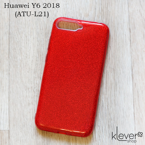 TPU чехол накладка Elysian rain для Huawei Y6 2018 (ATU-L21) (красный с блестками)