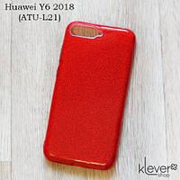 TPU чехол накладка Elysian rain для Huawei Y6 2018 (ATU-L21) (красный с блестками), фото 1