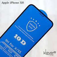 Защитное стекло 10D Full Glue для Apple iPhone XS (black) (клеится всей поверхностью)