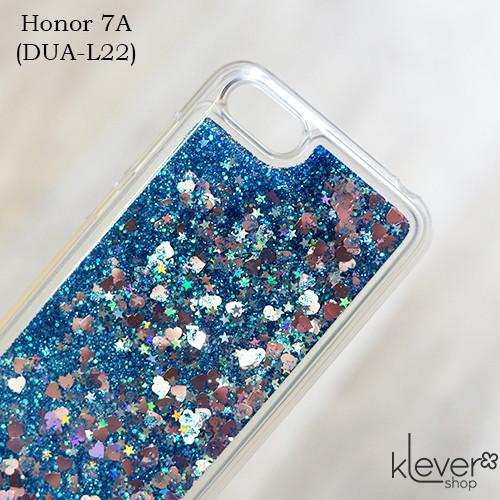 TPU чехол накладка Aquarium для Honor 7A (DUA-L22) (сердечки и синие блестки)