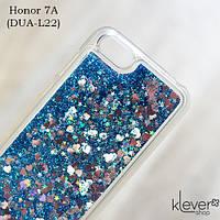 TPU чехол накладка Aquarium для Honor 7A (DUA-L22) (сердечки и синие блестки), фото 1