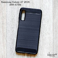 "TPU чехол накладка для Samsung Galaxy A7 2018 (SM-A750) (black ""Carbon"")"