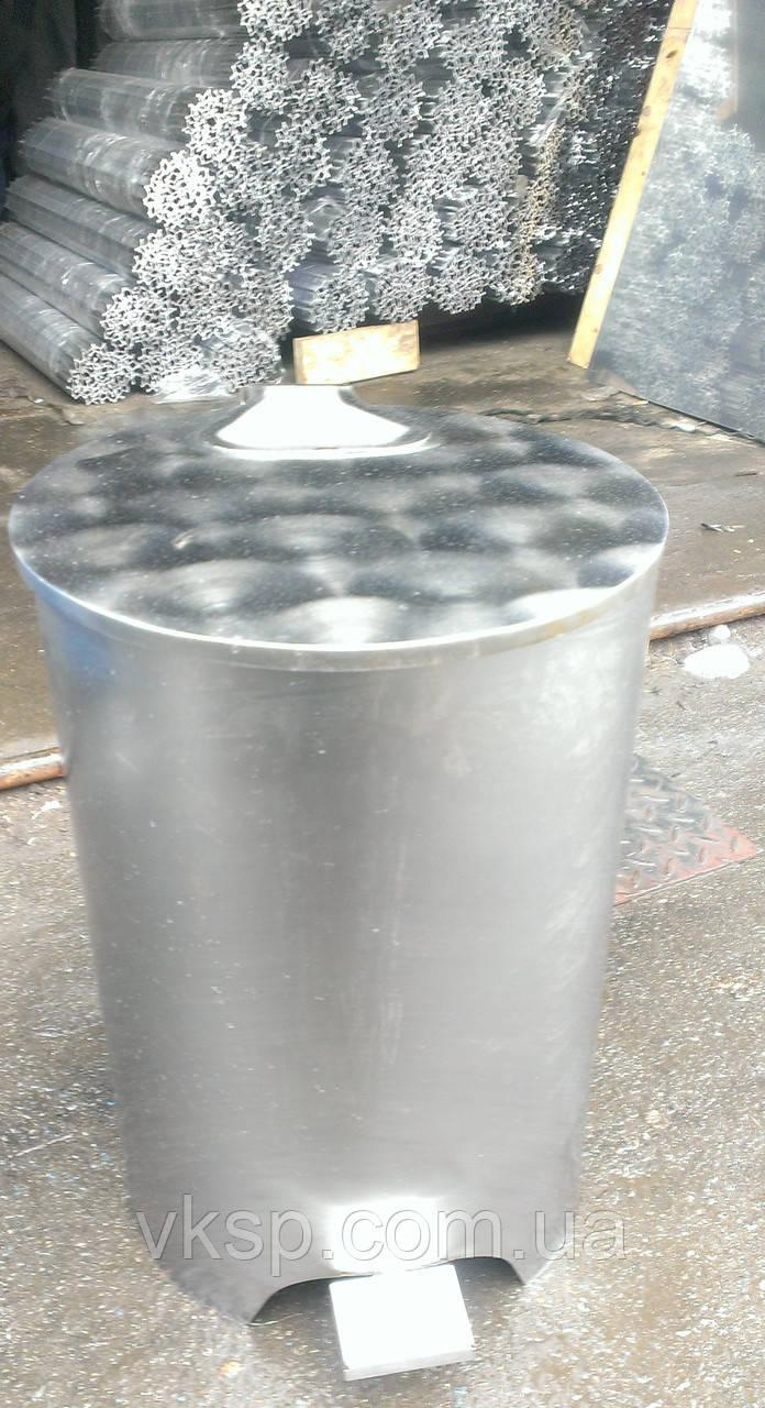 Контейнер бак для мусора 25л. из нержавеющей стали, держатели мусорных пакетов