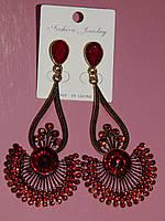 Серьги восточный стиль, красные камни, застежка гвоздик 000619