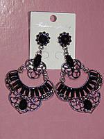 Серьги восточный стиль, кольца в черных и серых камнях, застежка гвоздик 000625