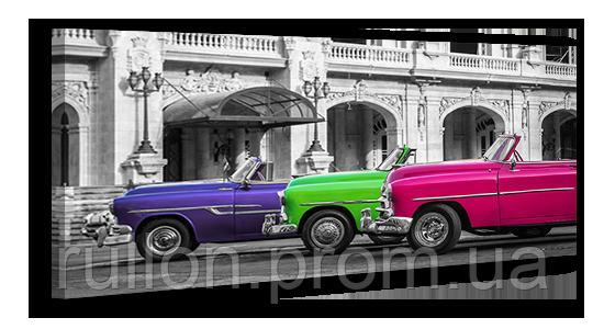 """Картина на холсте YS-Art XP039 """"Разноцветные раритетные автомобили"""" 50x100"""