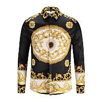 57aa93be4b6950f Мужская Винтаж Золотая печать Однобортный длинный рукав Бизнес Случайные  Платье Рубашки 1TopShop