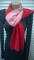 Яркий вязаный шарф из ангоры