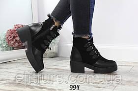 Ботинки зимние квадратный каблук, нат. кожа + замша + (2 цвета)