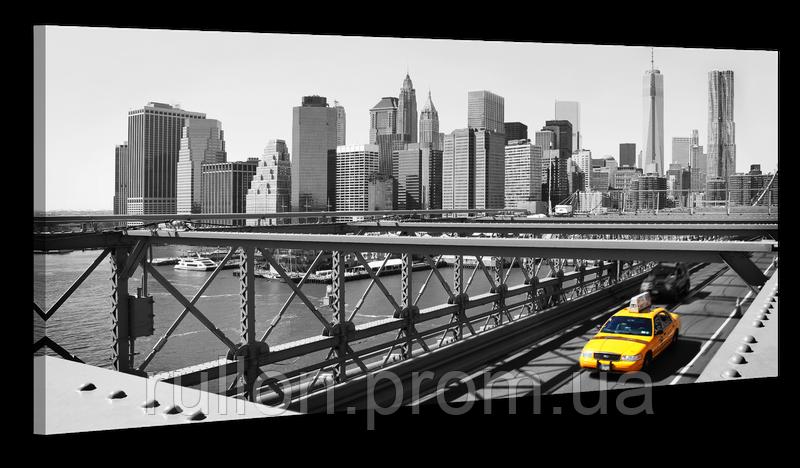 """Картина на холсте YS-Art XP156 """"Бруклинский мост с такси"""" 50x100"""