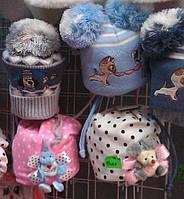 Шапка весенняя для девочек с мышкой -игрушкой оптом и в розницу S138