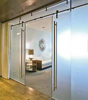 Перегородка стеклянная с Дверью раздвижной 2-створчатой в стеклянной перегородке 2 х 800 х 2100 мм из закаленного стекла матового 10 мм
