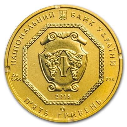 Монета Архистратиг Михаил 5 гривны золото 999,9 вес 7,78 грамм