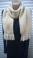 вязаный шарф из полушерсти  английская резинка  цвет св. бежевый