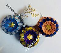 """Набор ёлочных игрушек """"Happy New Year"""" d=8 см (6 шт.) пластик, расцветка в ассортименте"""