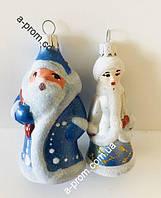 """Набор ёлочных игрушек """"Дед Мороз+Снегурочка"""" h=9 см (2 шт.) пластик"""