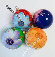 """Набор ёлочных игрушек """"Цветочек"""" d=8 см (6 шт.) пластик, расцветка в ассортименте"""