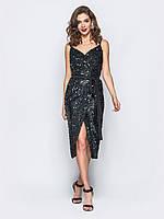 Элегантное платье в пайетки на запах MiAnDa 48L Черное, КОД: 268767
