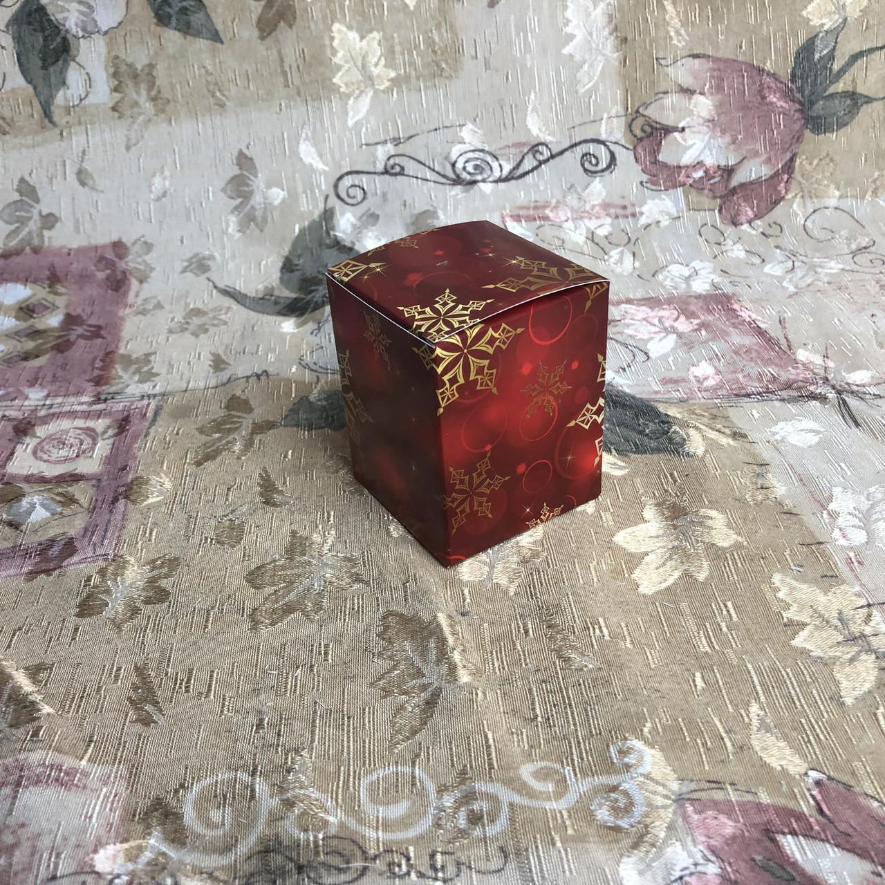 Коробка / Бонбоньерка / 60х60х75 мм / печать-Снег.Красн / б.о. / НГ