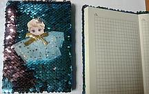 """Блокнот А-6 Пайетки двухсторонние """" Frozen"""" 60листов, в клетку, 11*15,5см, 4 цвета"""