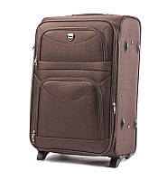 Большой тканевый чемодан Wings 6802 на 2 колесах коричневый