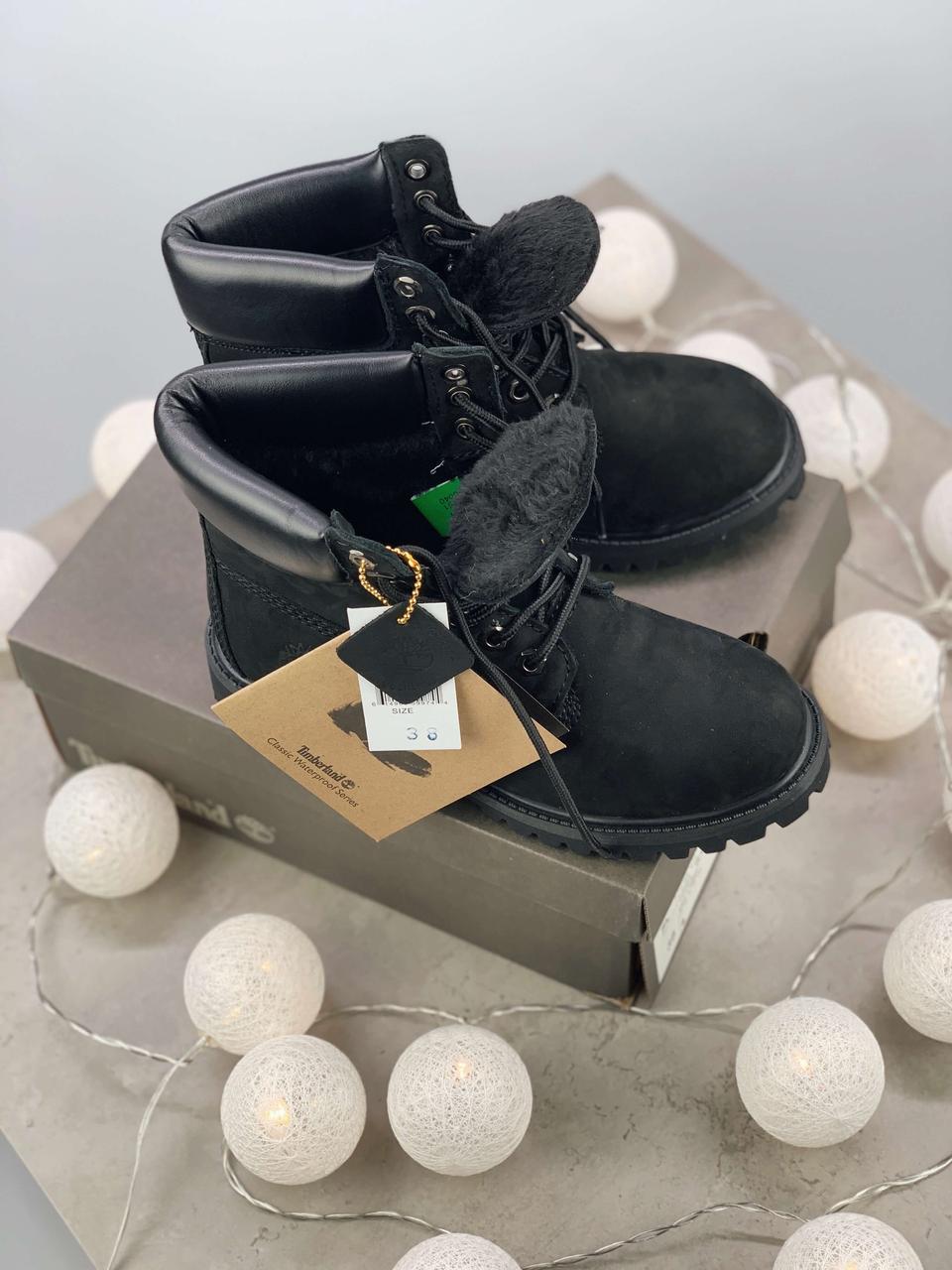 f293ee321540 Зимние ботинки Timberland 6 Inch Premium Black натуральная овчина ( 100%  живые фото ) ...
