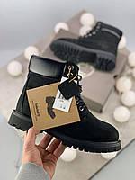 Зимние ботинки Timberland 6 Inch Premium Black натуральная овчина ( 100% живые фото )