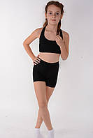 Спортивные детские шорты для танцев и гимнастики Черный бифлекс