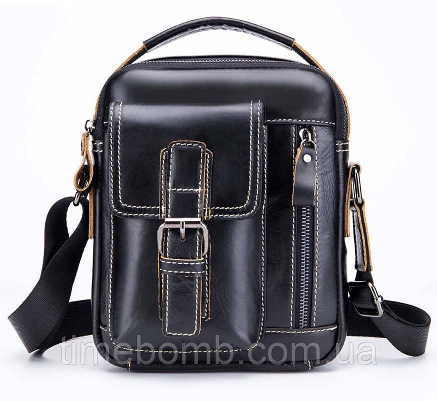 cd433498315e Мужская кожаная наплечная сумка барсетка Laoshizi Luosen - TimeBomb -  магазин стильных аксессуаров в Черкассах