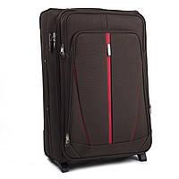 Большой тканевый чемодан Wings 1706 на 2 колесах коричневый