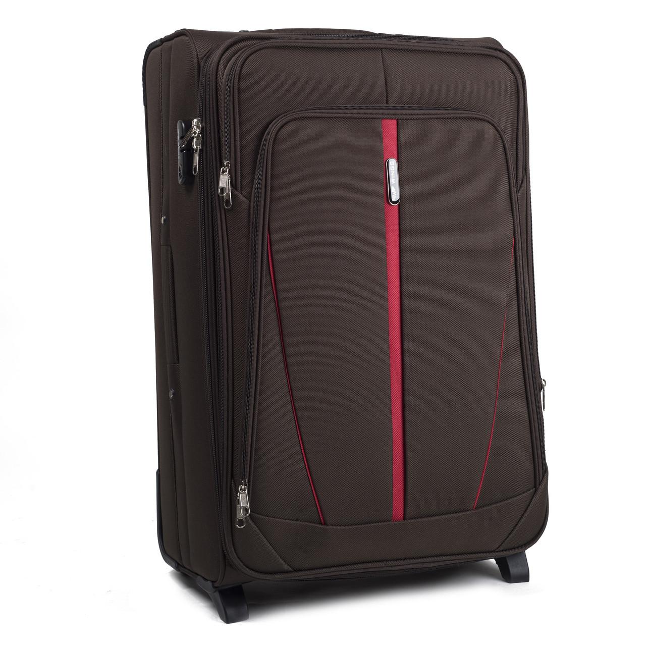 Большой тканевый чемодан Wings 1706 на 2 колесах коричневый, фото 1