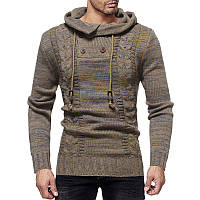 7d17d4173334d12 Мужская мода Вязание утолщенной Drawstring с капюшоном шерсти с длинным  рукавом подходят случайные свитера 1TopShop