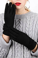 Женские сенсорные перчатки на плюшевой подкладке Черные