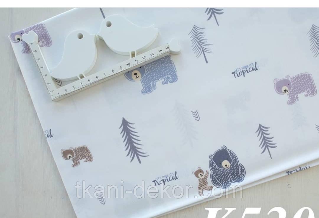Сатин (хлопковая ткань)  плюшевые мишки и елки