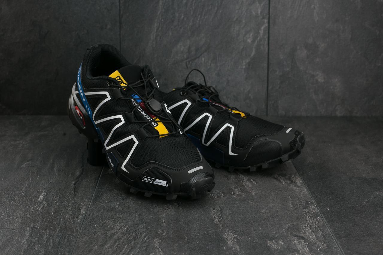 Кроссовки A 201-1 (Salomon Speed Cross 3) (весна-осень, мужские, кожзам, черно-синие)