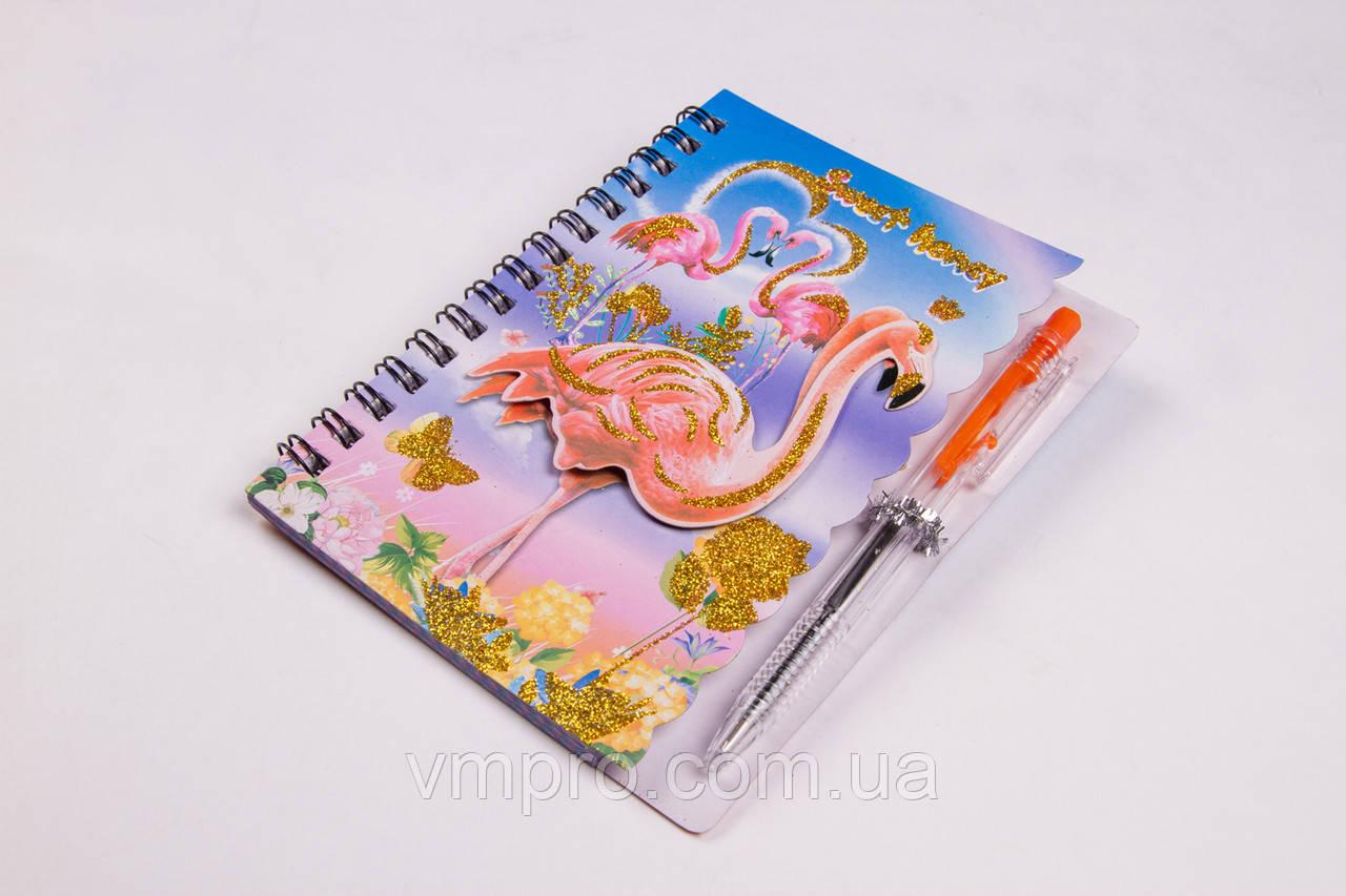 """Блокнот на спиралі """"Фламінго"""" з ручкою, A-6, №A803-3FL, записна книжка"""