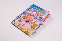 """Блокнот на спиралі """"Фламінго"""" з ручкою, A-6, №A803-3FL, записна книжка, фото 1"""