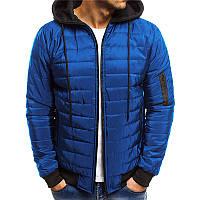 ad274ffc1969 Мужская стеганая мягкая куртка с контрастными цветами с капюшоном Зимняя  теплая верхняя одежда 1TopShop