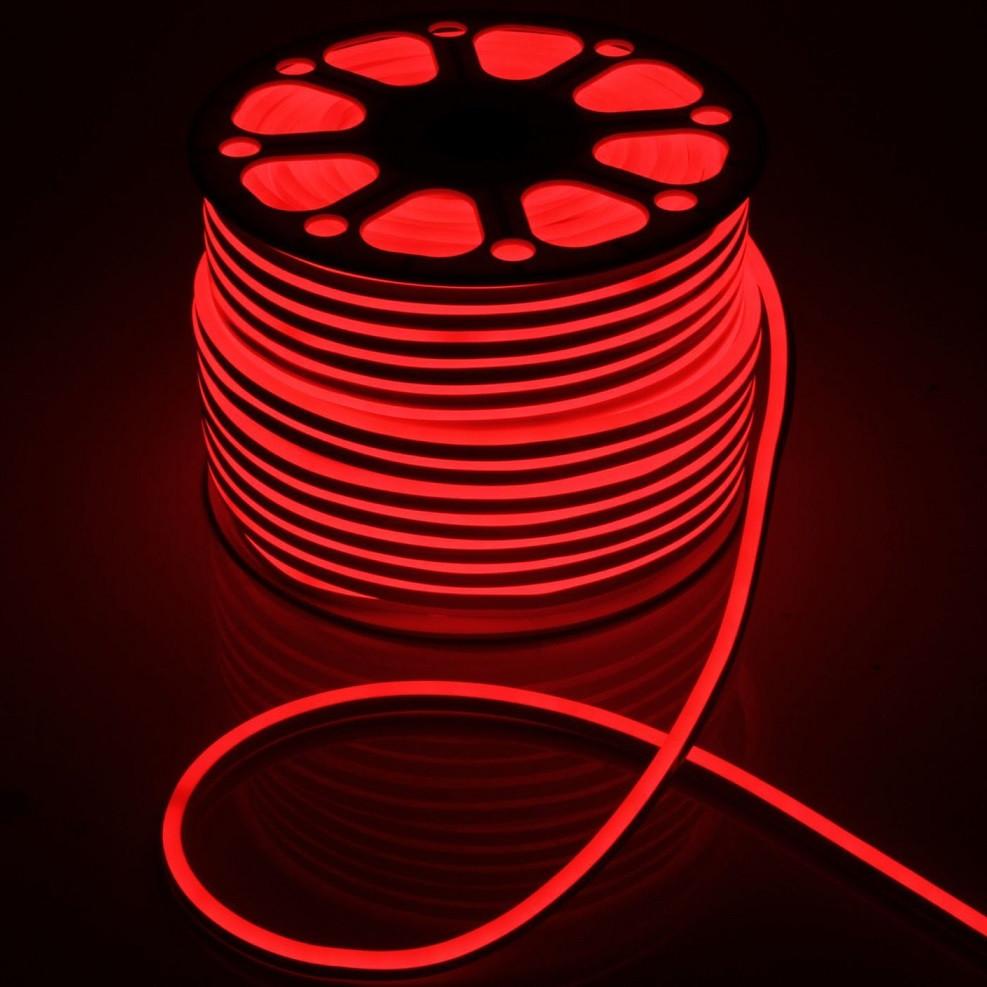 Светодиодный неон Biom SMD2835, красный 120шт/м, 8W/m, IP65, 220V