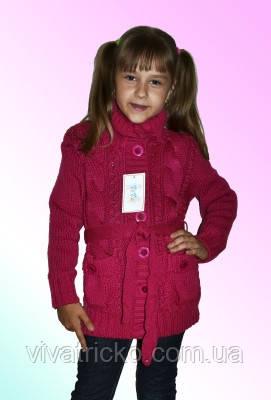 Вязаная детская кофточка для девочки м 9595 р 122-140, разные цвета