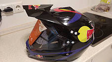 Черный эндуро кроссовый мото шлем с визиром Red Bull Dot мотошлем, фото 2