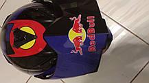 Черный эндуро кроссовый мото шлем с визиром Red Bull Dot мотошлем, фото 3