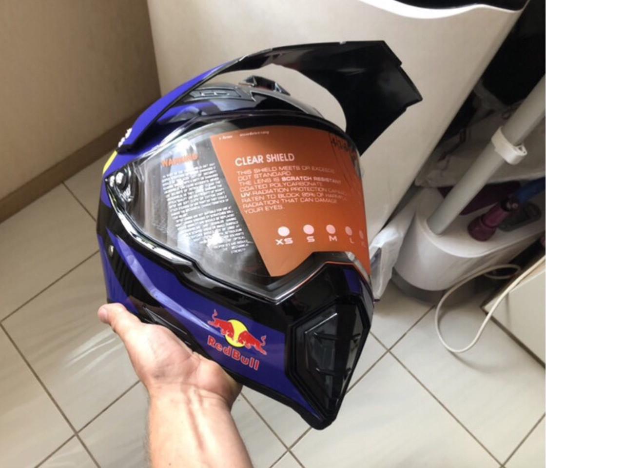 Черный эндуро кроссовый мото шлем с визиром Red Bull Dot мотошлем