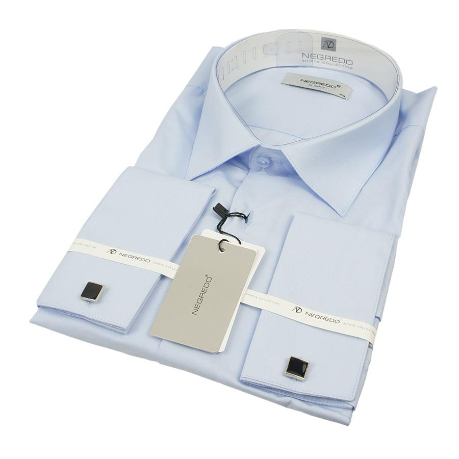Блакитна чоловіча сорочка Negredo 010-KD C:25 під запонку